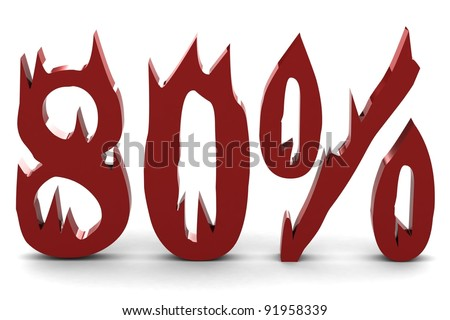 Red eighty percent - stock photo