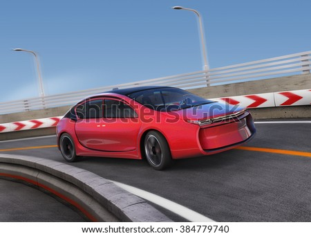 Red electric car on highway with motion blur background. 3D rendering image. - stock photo