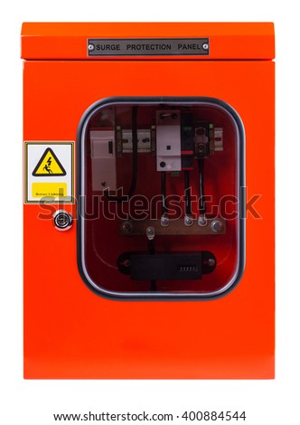 Red electric control box on white background - stock photo