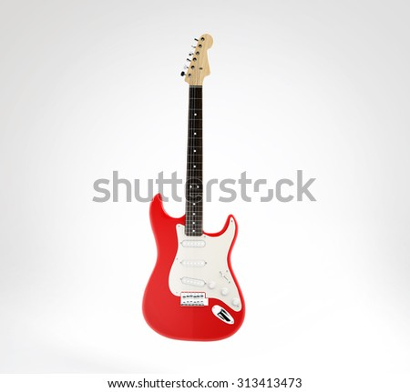 Red electric guitar, 3D render on white background