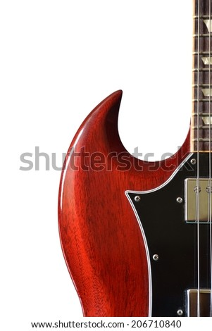 Red electric guitar isolated on white. - stock photo