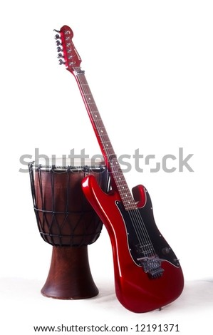 red electro guitar and japanese drum