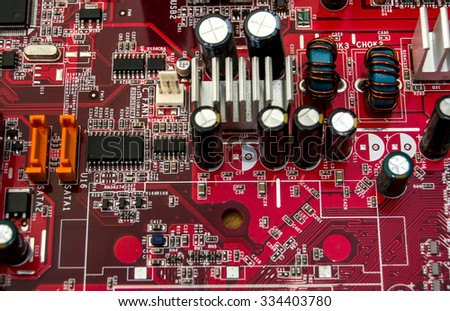 red Electronic circuit board - stock photo