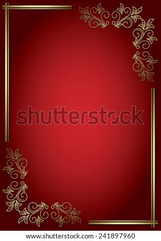 red elegant background with golden decorative frame - stock photo