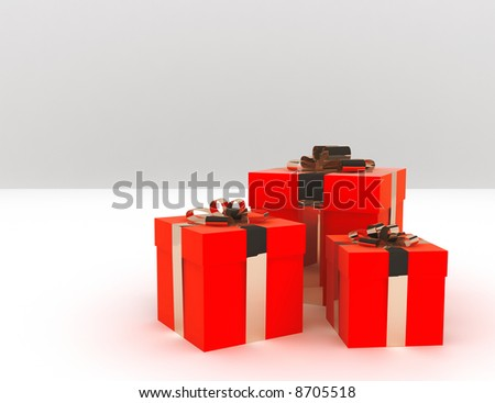 red elegant boxes of gifts decorated by a golden tape
