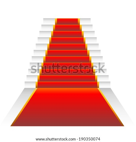 Red elegant stairs isolated in white background