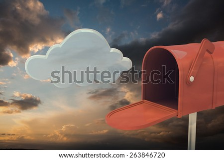 Red email postbox against blue and orange sky with clouds - stock photo