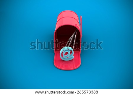 Red email postbox against blue background with vignette - stock photo