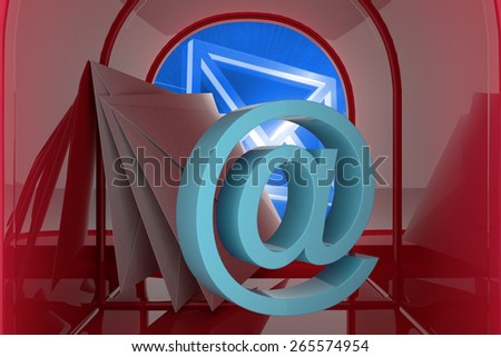 Red email postbox against digitally generated envelope - stock photo