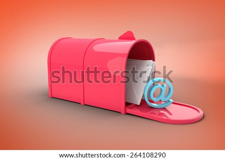 Red email postbox against orange - stock photo
