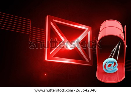 Red email postbox against shiny red envelope on black background - stock photo