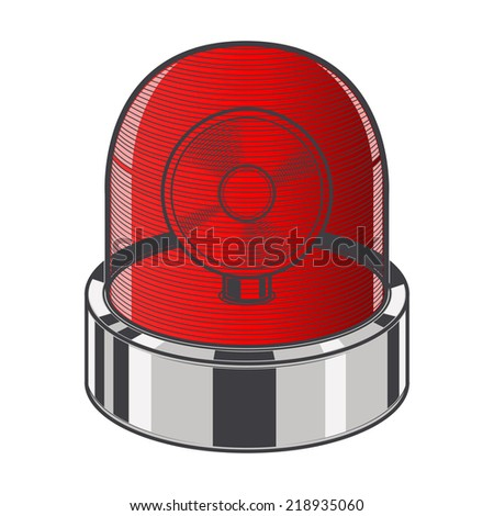 Red emergency siren isolated on a white background. Color line art. Retro design. Raster copy. - stock photo