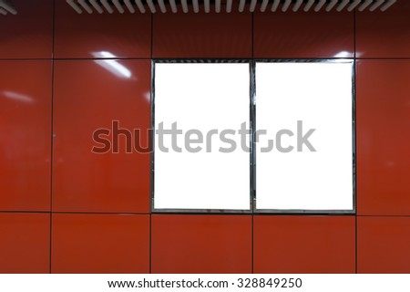 Red Empty billboard on the wall interior - stock photo