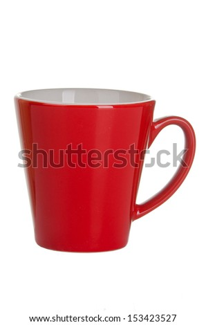 red empty cup of tea (coffee) isolated on white background