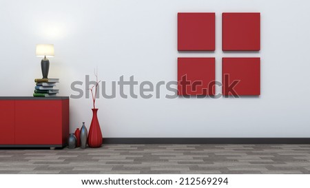red empty interior with vases and lamp - stock photo