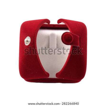 Red empty jewelry box in white background