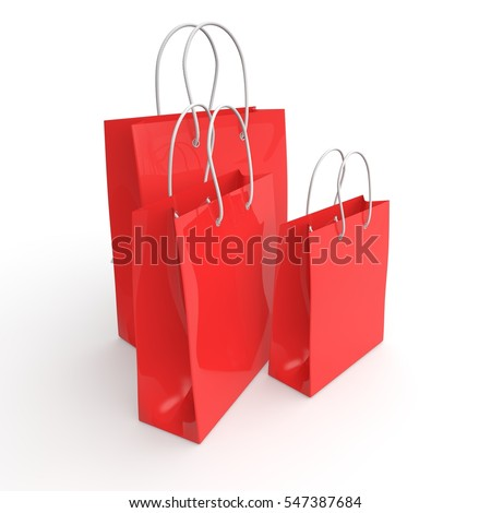Red empty packages for purchase. 3D illustration