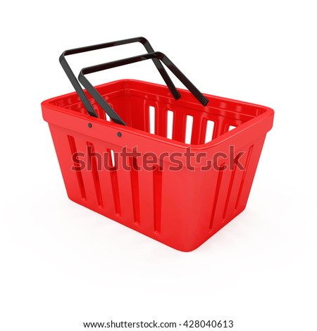 Red Empty Shopping Basket isolated on white background. 3D Rendering