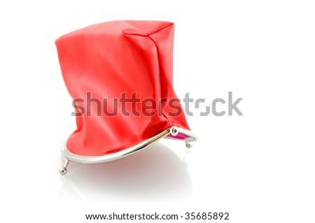 Red empty wallet isolated on white background
