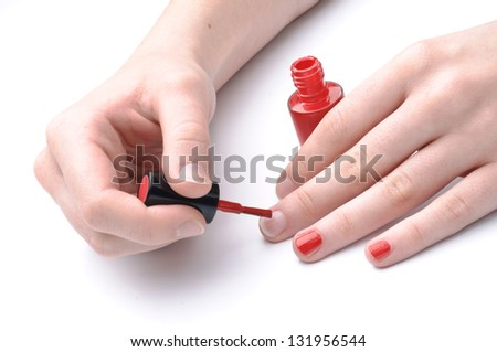 Red enamel on the nails