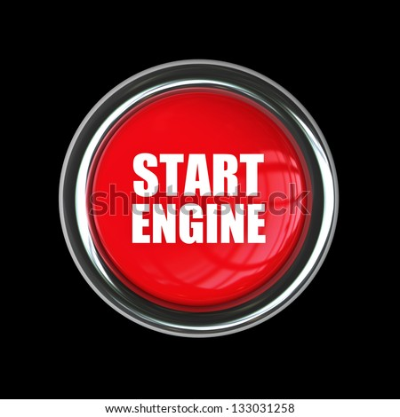 red engine start button isolated on black background. High resolution 3d render image - stock photo
