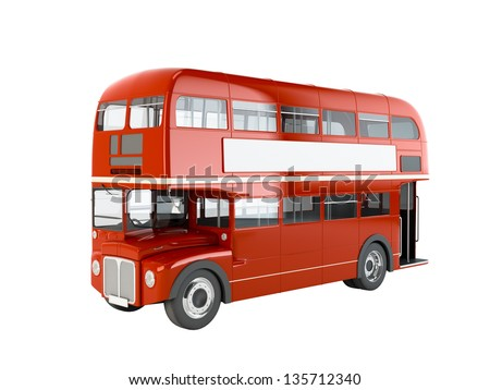 Red English bus isolated on white background - stock photo