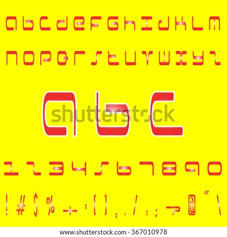Red english font set on yellow background. Alphabet, numbers and symbols. Font type. Latin alphabet font type.