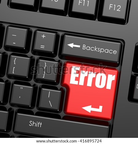 Red enter button on computer keyboard, Error word. Business concept, 3D rendering - stock photo
