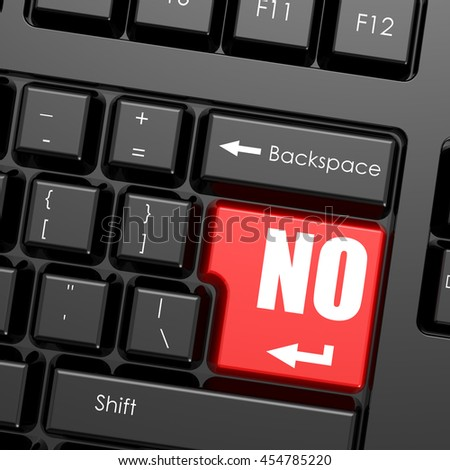 Red enter button on computer keyboard, no word. Business concept, 3D rendering - stock photo