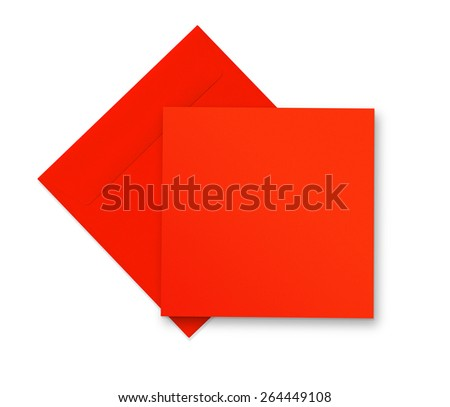 Red envelope and card on white with shadow - stock photo