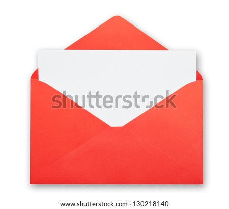 Red envelope isolated clipping path excludes the shadow. - stock photo