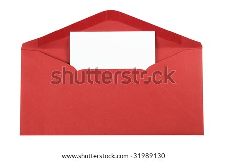 Red envelope isolated on a white - stock photo