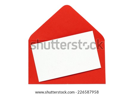 red envelope with blank white card - stock photo