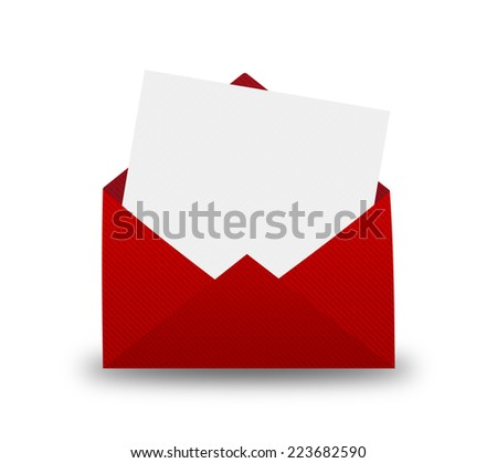 Red Envelope with letter on a yellow background - stock photo