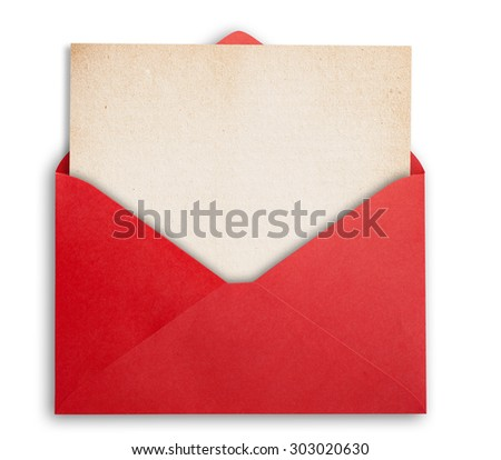Red envelope with old paper, isolated, clipping path.