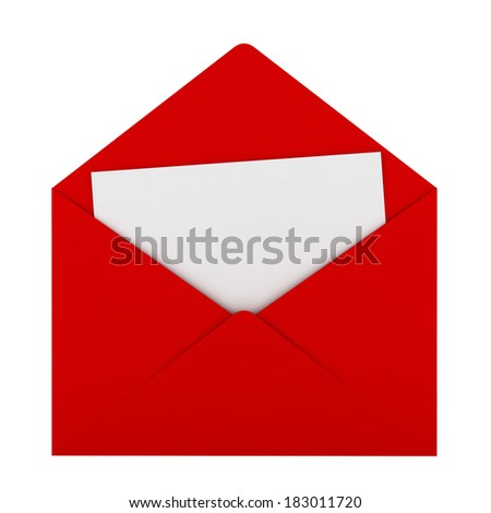 Red envelope with sheet of paper. 3d illustration on white background  - stock photo