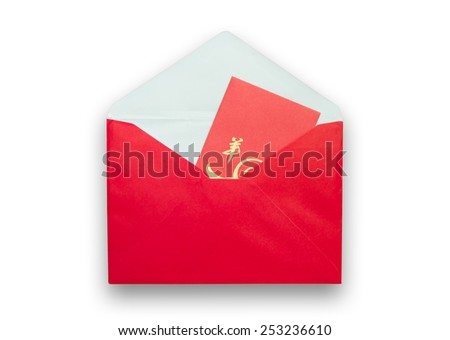 Red envelopes for Chinese New Year on white background - stock photo