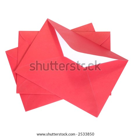 Red envelopes isolated on white (CLIPPING PATH) - stock photo