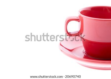 Red Espresso Mug and Plate - stock photo