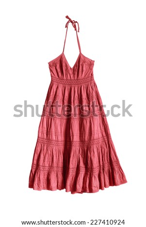 Red ethnic dress with draped embroidered skirt on white background - stock photo