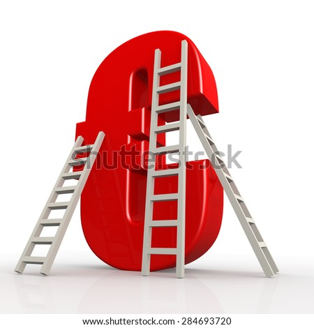 Red euro sign with ladder image with hi-res rendered artwork that could be used for any graphic design. - stock photo