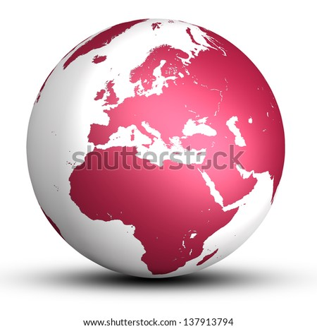 red europe world globe with shadow isolated on white background - stock photo