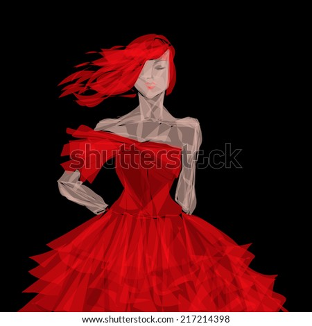 red evening dress - stock photo