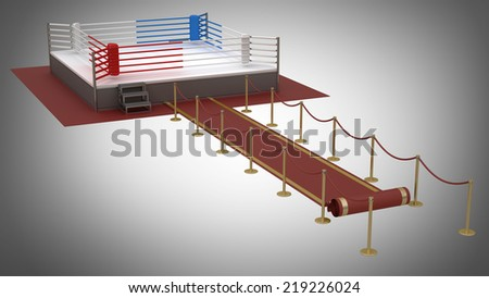 red event carpet to a boxing ring red. High resolution 3d render  - stock photo