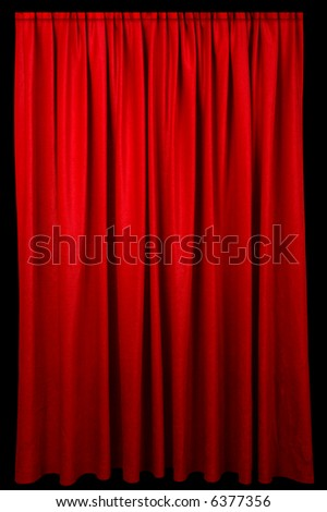 Red event curtain fading to a dark background.