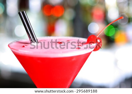 Red Exotic cocktail with fruit  - stock photo