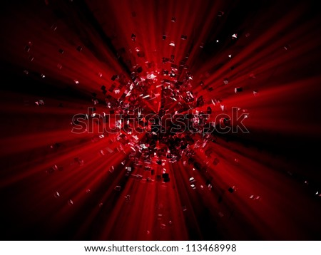 Red explosion background - stock photo