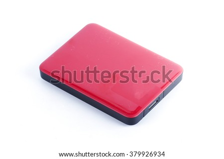 Red External Hard Drive isolated on white