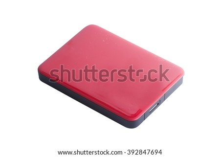 Red External Hard Drive isolated on white with paths