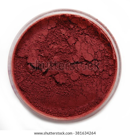 red eyeshadow blush with package on white background - stock photo